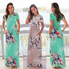 Plus Size Boho Womens Holiday Short Sleeve Floral Maxi Ladies Beach Party Dress