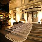 5M Luxury 1T Cathedral Wedding Veil Lace Edge Long White / Ivory Veil with Comb