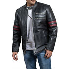 Sam Witwer Being Human Biker Black Leather Jacket with Red Stripes