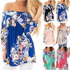 UK Plus Size Womens Floral Off Shoulder Ladies Loose Casual Tops T-Shirt Blouse