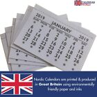 2019 Calendar Tabs Pad Inserts Small Calendars Month to View Made In UK