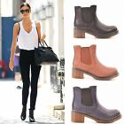 LADIES WOMENS ANKLE BOOTS CHUNK BLOCK MID HIGH HEEL CHELSEA SLIP ON SHOES SIZE