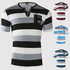 NEU TRISENS POLOSHIRT HERREN SHIRT SOMMER REINE COTTON GESTREIFT KURZARM PARTY