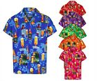 MENS HAWAIIAN SHIRT BEER BOTTLE SHORT SLEEVE STAG BEACH HOLIDAY FANCY DRESS