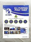 5 Mil Heavy Duty Poly Tarp 80 GSM All Purpose Canopy Reinforced Tarpaulin BlkWht