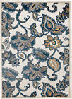 MODERN AREA RUG, WHITE-BLUE FLORAL, APROX SIZE OPTIONS: 2'X3' 2'X7' 4'X5' 5'X7'