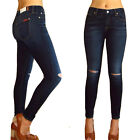 $189 Seven 7 For All Mankind Ankle Skinny Jeans Dark Distressed Knee Hole 27-29