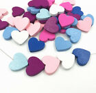 DIY Wooden Heart Shape Beads Spacer Beading Wood Beads DIY Accessories Kids Toys