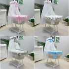 TOLO BABY WICKER MOSES BASKET + CHASSIS + SMALL WHEELS + BEDDING +DRAPE 7 DESIGN