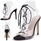 Womens Pump Lace Up Stiletto High Heels Sandals Gladiator Club Party Shoes Clear