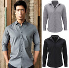 Mens Long Sleeve Fitted Shirt - Casual Smart Office Business Wear