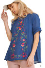Umgee Women's Blue Short Sleeve Embroidered Blouse