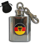 GERMANY FLAG COAT OF ARMS STAINLESS STEEL 1oz HIP FLASK KEYRING GIFT