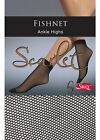 1 Pair - Scarlet Fishnet Ankle Highs by Silky