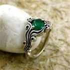 925 Silver Ring 1.6ct Emerald Women Men Jewelry Wedding Engagement Size 6-10