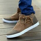 Mens Round Toe Canvas High Top Ankle Boots Lace Up Faux Suede Shoes US Size
