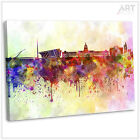 Dublin Skyline Abstract Watercolour Painting Framed Canvas Wall Art Picture
