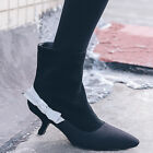Fashion Womens Sexy High Top Ankle Boots Pumps Bowknot Mid Heels Shoes Black