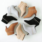 Womens High Top Ankle Boots Pointy Toe Suede Back Zipper Shoes Pumps US 4.5-10