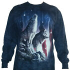 The Mountain Wolves Falling Stars American Flag USA Wolf Long Sleeve T-Shirt NEW image