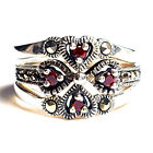 (SIZE 6 or 7) Set of 3 STACK RINGS: Garnet Hearts Marcasite .925 STERLING SILVER