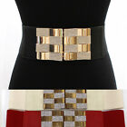 Bling WOMEN ELASTIC BELT stretch Waist band Gold Metal Rhinestone BUCKLE Wide