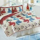 Reversible Meao Kittens Cats Quilt Coverlet Colorful Cotton Bedspread Coverlet image