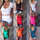 Women's Basic Low Cut Deep V-Neck Stretch Short Sleeve Slimming Top Shirt Tee