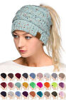 ScarvesMe C.C Confetti Beanietail Ponytail Messy Bun Solid Ribbed Beanie Hat Cap