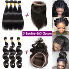 Pre Plucked 360 Lace Frontal Closure With 3 Bundles Virgin Human Hair Weave B552