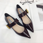 New Women Patent Leather Vintage Pointy Toe Strap Buckle Flats Low Heel Shoes