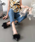 Women Autumn Sexy Black Pointy Toe Rabbit Fur Trim Slingback Flats Sandals Shoes