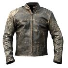 Antique Black Men's Vintage Distressed Retro Motorcycle Biker Leather Jacket