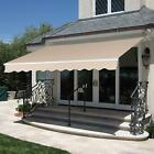 Brown 10x8 12x10FT Sunshade Awning Shelter Retractable Patio Deck Outdoor Canopy cheap