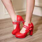 Lolita Womens Bowtie Block Heel Mary Janes Fashion Dating Shoes High Heels Size9