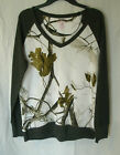 Women's Northcrest Realtree White Camo & Gray LS V NeckThermal Shirt NWT