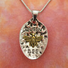 Queen Bee Pendant or Necklace, Honey Bumble Spoon Large Gold Silver Charm Gift