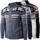 US STOCK Men's Floral Knit Cardigan Sweater Jumper Knitwear Jacket Coat Outwear