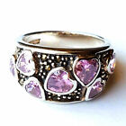 (SIZE 7) PINK TOPAZ HEARTS RING Wide Band Marcasite .925 STERLING SILVER