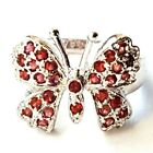RUBY RED BUTTERFLY RING Sparkling Red CZ Stones 925 STERLING SILVER (SIZE 6,7,8)
