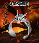S925 Silver Naruto Uzumaki Kurama Kyuubi Ninja Ring Adjustable Cosplay Anime