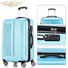 """Set of 2 20""""+ 24"""" ABS Hard Shell Carry On Spinner Luggage Suitcase With TSA Lock"""