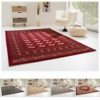 PERSIAN BOKHARA / MEDAILLON PATTERNED ORIENTAL STYLE RUG ANAMUR RED BLACK BEIGE