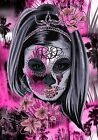 PRETTY MEXICAN SKULL CANVAS #72 ABSTRACT SHABBY CHIC WOODEN FRAME CANVAS ART