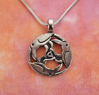 Celtic Three Ravens Necklace, Pagan Wicca 3 Birds Lead-Free Pewter Charm Pendant image