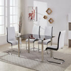 GIZZA LARGE GLASS DINING TABLE AND 4 OR 6 CHAIRS SET BLACK WHITE SIDES LEATHER