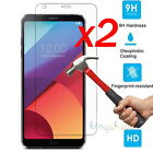 2x 9H Premium Tempered Glass Screen Protector Foil Film Guard For LG G6 Q6 2017