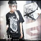 punk visual rock heart of sorrow grommet strap baggy long tshirt【JAG0015】