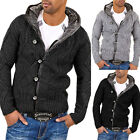 BEHYPE Men's cardigan sweater jumper 1013 Gray Black Darkgray