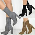 Womens Ladies Ankle Boots Block Heels Calf High Winter Party Casual Shoes Size